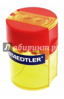 Точилка Staedtler с контейнером для стружки - 2 отверстия (512006)Точилки<br>Точилка с контейнером для стружки - 2 отверстия.<br>Цветной пластиковый корпус - желтый.<br>Сделано в Китае.<br>