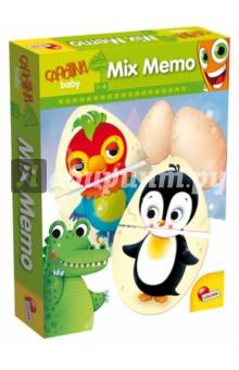 LISCIANI Игра настольная МЕМО-МИКС (53360)Карточные игры для детей<br>Интересная игра - комбинация MEMO и лото, выполненная из плотного картона. Развивает логику, внимательность, память, способствует развитию мелкой моторики. Безопасные большие элементы. <br>Дети играют с карточками и узнают, кто скрывается внутри яйца.<br>Занятия стимулируют любознательность, логику, социальные навыки, помогает в изучении животных.<br>В комплекте 16 больших и 16 маленьких карточек, инструкция.<br>Материал: картон, бумага.<br>Упаковка: картонная коробка.<br>Для детей 1-4 лет.<br>Сделано в Италии.<br>