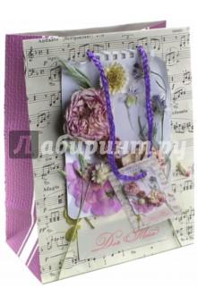 """Пакет бумажный """"Ноты и цветы"""" (17,8х22,9х9,8) (44175) Феникс-Презент"""