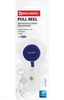 Держатель-рулетка для бейджей (70 см, синий) (235727)Бейджи<br>Держатель-рулетка BRAUBERG предназначена для крепления бейджей, магнитных карт, пропусков, ключей и мелкого инструмента. Рулетка с металлическим клипом подходит для ношения на ремне или поясе.<br>Два крепления: петелька, клип.<br>Длина шнурка: 70 см.<br>Цвет: синий.<br>Сделано в Китае.<br>