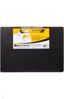 Доска-планшет с боковым прижимом (ПВХ, черная) (232223) Brauberg