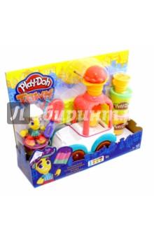 Набор Play-Doh Грузовик с мороженым (B3417)Наборы для лепки с игровыми элементами<br>Грузовик с мороженым - игровой набор пластилина Play-Doh, с которым можно создавать любые истории! Машинка перевозит мороженое, на место водителя можно посадить фигурку смешного человечка - с игровым набором можно играть и без пластилина. Одновременно грузовик и отдельные его детали являются формочками и дополнительными приспособлениями для лепки. Например, можно снять рожок с крыши грузовика, загрузить туда пластилин и выдавить - так можно сделать красивое мороженое или шапочку для человечка.<br>Используйте пластилин из набора, чтобы украсить фигурку мороженщика и его грузовик, как угодно! Также, можно создавать свое, вкусное мороженое - рожки, эскимо на палочке. Набор отлично сочетается с другими наборами Плей До.<br>В комплекте: фигурка мороженщика, грузовик, палочка для эскимо, форма для мороженого и другие аксессуары<br>Рожок с крыши грузовика снимается, превращаясь в фигурный кондитерский шприц.<br>В комплекте 3 баночки с пластилином и аксессуары для<br>лепки.<br>