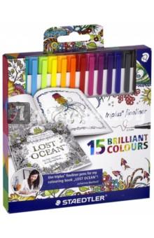Набор капиллярных ручек Triplus 334 (15 цветов) (334C15JB)Наборы капиллярных ручек<br>Капиллярные ручки  Johanna Basford.<br>Количество цветов: 15.<br>Линия письма: 0,3 мм.<br>Трехгранная форма. <br>Яркие цвета.<br>Сделано в Германии.<br>