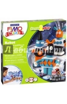 FIMO kids create &amp; play РоботЛепим из пасты<br>Набор для создания украшений.<br>4 цвета по 42 грамма + аксессуары.<br>Уровень сложности: 2.<br>Сделано в Германии.<br>
