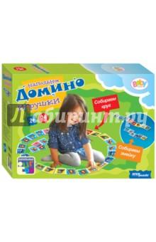 Напольное домино Игрушки (Baby Step) (70119)Домино<br>Домино в картинках способствует развитию у детей внимания, зрительного восприятия, комбинаторных и логических способностей, учит определять одинаковые картинки и соединять их в цепочки. Яркие иллюстрации делают игру интересной даже для самых маленьких детей.<br>Комплектность: фишки домино - 24 штуки, фигурки для свободной игры - 4 штуки, правила игры. <br>Материал: картон.<br>Для детей от 2-х лет.<br>Сделано в России.<br>