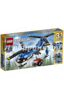 Конструктор LEGO Двухвинтовой вертолёт (31049)Конструкторы из пластмассы и мягкого пластика<br>Запускай оба винта этого удивительного вертолёта и взлетай в небо. Опусти лебёдку, прицепи гусеничный трактор-снегоход и перебрось его в нужное место. Выполни идеальную посадку на лёд и снег, используя лыжи вертолёта!<br><br>Двухвинтовой вертолёт 3-в-1 от LEGO® Creator отличается высокотехнологичным дизайном в голубой и белой цветовой гамме и может быть трансформирован в снегоход с функционирующей лебёдкой или самолёт с одним двигателем и крутящимся пропеллером.<br>Количество деталей: 326.<br>Материал: пластмасса.<br>Не рекомендовано детям младше 3-х лет. Содержит мелкие детали.<br>Детям от 8 до 12 лет.<br>Сделано в Дании.<br>