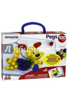 31806 Мозаика PEGS, 100 элементов, 20 мм, 6 картинок (31806) Miniland Educational