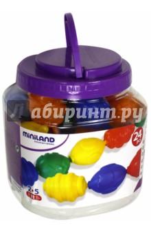 Развивающая цепь Блоки, 24 элемента (27361)Другие игрушки для малышей<br>Конструктор специально разработан для маленьких рук с различными текстурами, которые предлагают большие возможности игры, в том числе игра может использоваться и для развития логического мышления у детей дошкольного возраста.<br>В наборе 24 элемента.<br>Упаковка: пластиковая банка с ручкой.<br>Возраст: от 2 до 5 лет.<br>Сделано в Испании.<br>