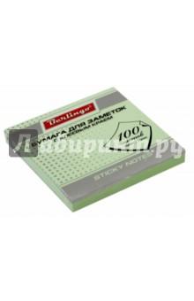 Бумага для заметок с клеевым краем, 100 листов, 76x76 мм ПАСТ, зеленая (HN7676G) Хатбер