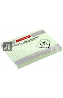 Бумага для заметок с клеевым краем, 100 листов, 76x102 мм ПАСТ, зеленая (HN76102G) Хатбер