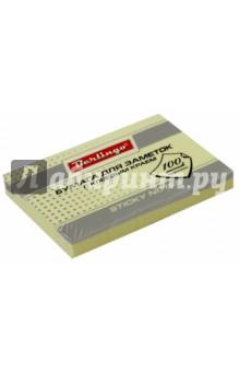 Бумага для заметок с клеевым краем, 100 листов, 76x51 мм ПАСТ, желтая (HN7651Ge) Хатбер
