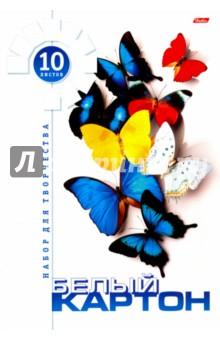 "Картон белый, 10 листов ""Бабочки"" (10Кб4_10877) Хатбер"