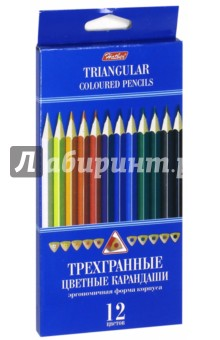 Карандаши цветные трехгранные (12 цветов) (BKt_12400)Цветные карандаши 12 цветов (9—14)<br>Карандаши цветные.<br>В наборе 12 цветов.<br>Яркие цвета.<br>Мягкое письмо.<br>Легко затачиваются.<br>Удобная трехгранная форма.<br>Не токсичны.<br>Состав: дерево, графит.<br>Не рекомендуется детям до 3-х лет.<br>Сделано в Китае.<br>