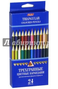 Карандаши цветные трехгранные (24 цвета) (BKt_24400) Хатбер