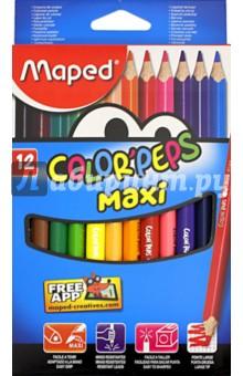 Карандаши цветные COLORPEPS MAXI, 12 цветов, треугольные (834010)Цветные карандаши 12 цветов (9—14)<br>Карандаши цветные MAXI.<br>12 цветов.<br>Треугольные.<br>Толстая линия.<br>Материал: дерево.<br>Упаковка: картонный блистер.<br>Сделано в Китае.<br>