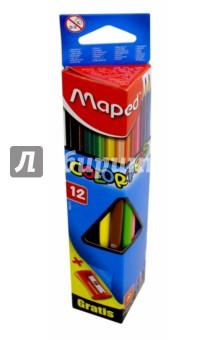 Карандаши цветные COLORPEPS, трехгранный корпус, 12 цветов + точилка с 1 отверстием (183213)Цветные карандаши 12 цветов (9—14)<br>Карандаши цветные COLOR PEPS, трехгранные, 12 цветов + точилка с 1 отверстием.<br>Ударопрочный корпус из дерева, прочный грифель. <br>Упаковка: коробка с подвесом.<br>