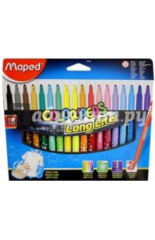Фломастеры COLOR'PEPS Long Life, 18 цветов, смываемые (845021) MAPED