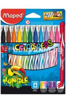 Фломастеры JUNGLE, 12 цветов  (845420)Фломастеры 12 цветов (9—14)<br>Фломастеры JUNGLE, 12 цветов.<br>Яркие цвета, блокируемый наконечник, средний пишущий узел. Смываемые.<br>Материал корпуса: пластик.<br>Упаковка: картонная коробка с подвесом. <br>Предназначено для детей от трех лет.<br>Сделано в Китае.<br>