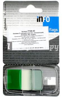 Клейкие Z закладки, пластик, 25х43 мм, 50 листов, зеленый край (7728-43) Info Notes