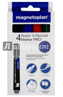 Маркеры универсальные: для досок и бумаги, 4 шт. 4 цвета: синий, черный, красный, зеленый (12281) Magnetoplan