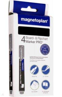 Маркеры универсальные magnetoplan: для досок и бумаги, 4 шт. Черные (1228112)