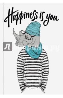 Happiness is you (Блокнот для хипстеров)Блокноты большие Линейка<br>Яркие хипстерские блокноты: на обложках модные образы животных в стильной одежде.<br>