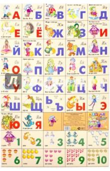 Яркая, красочная азбука для дошкольников и младшего школьного возраста. Разрежьте плакат на отдельные карточки с буквами и цифрами, и процесс обучения можно превратить в увлекательную игру.