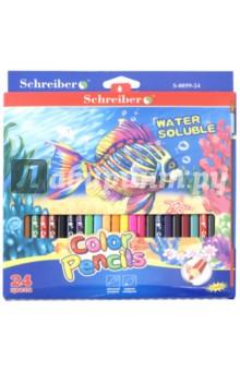 Карандаши акварельные + кисть (24 цвета) (YL 530059-24)Цветные карандаши более 20 цветов<br>Карандаши цветные акварельные.<br>В комплект входит кисть. <br>Трехгранные. <br>Удобно точить<br>Прочный грифель<br>Количество цветов: 24.<br>Сделано в Китае.<br>