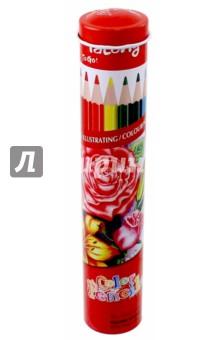 Карандаши (12 цветов, металлическая туба) (YL 830042)Цветные карандаши 12 цветов (9—14)<br>Карандаши цветные.<br>Трехгранные. <br>Количество цветов: 12.<br>Упакованы в металлический тубус. <br>Удобно точить<br>Прочный грифель<br>Сделано в Китае.<br>