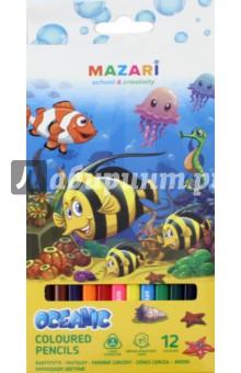 Карандаши OCEANIC, 12 цветов. Трехгранный корпус (М-6133-12)Цветные карандаши 12 цветов (9—14)<br>Карандаши цветные OCEANIC, 12 цветов.<br>Трехгранный корпус, диаметр грифеля 3 мм.<br>Упаковка: картонная коробка с европодвесом.<br>