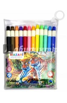 Карандаши INSPIRA 12цв. авт. (М-6137-12)Цветные карандаши 12 цветов (9—14)<br>Карандаши цветные автоматические INSPIRA. <br>12 цветов, круглый корпус.<br>С нажимным механизмом. Точилка для грифеля в кнопке. Яркие цвета. Прочный неломающийся сменный грифель 90мм. Легко, без усилий затачиваются точилкой. Предназначены для письма и рисования. Рекомендуется использовать грифели ТМ MAZARI, подходящие для механических карандашей INSPIRA.<br>Диаметр грифеля 2 мм.<br>Упаковка: пенал, ПВХ.<br>