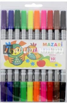 Фломастеры двухсторонние HOLIDAY. 10 цветов (М-5053-10) MAZARI