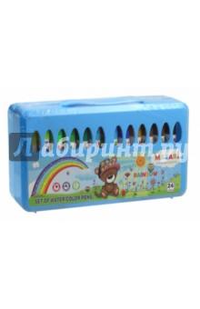 Фломастеры RAINBOW 24цв. со штампами (М-5059-24)Фломастеры 24 цвета (21—30)<br>Фломастеры со штампами RAINBOW. <br>24 цвета, в пластиковом чемоданчике.<br>Пластиковый корпус, вентилируемый колпачок. Для рисования на бумаге и картоне.<br>