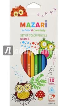 Карандаши 12 цветов NUANCE, пластиковые, трехгранные (М-6097-12)Цветные карандаши 12 цветов (9—14)<br>Карандаши цветные.<br>12 цветов.<br>Пластиковый трехгранный корпус. <br>Диаметр грифеля: 3 мм.<br>Упаковка: картонная коробка с европодвесом.<br>Сделано в Китае.<br>
