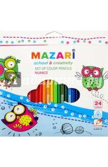 Карандаши цветные Nuance (24 цвета, пластиковые, трехгранные) (М-6097-24)Цветные карандаши более 20 цветов<br>Карандаши цветные.<br>Предназначены для письма, рисования, черчения.<br>В наборе 24 цвета<br>Пластиковый трехгранный корпус. <br>Диаметр грифеля: 3 мм.<br>Упаковка: картонная коробка с европодвесом.<br>Сделано в Китае.<br>