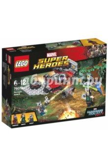 Конструктор LEGO Super Heroes. Нападение Опустошителей (76079)Конструкторы из пластмассы и мягкого пластика<br>Приготовьтесь стрелять по Кораблю Тазерфейса из шестиствольной пушки! Ракета и Мантис хоть совершили жесткую посадку на лесной планете, они всё же построили мощное оружие из обломков Милано и сумели отразить атаку. Укройтесь от огня шутера M-корабля в лесу, а затем откройте ответный огонь из пушек Ракеты в этом эпичном приключении из набора Стражи Галактики!<br>Материал: пластмасса.<br>Детям от 6 лет до 12 лет.<br>Не рекомендовано детям младше 3-х лет. Содержит мелкие детали.<br>