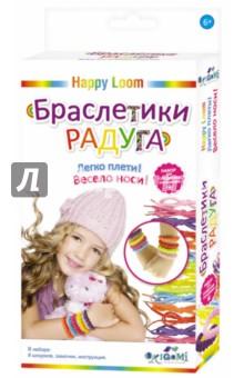 Набор для плетения браслетов Браслетики радуга (01725)Плетение из резиночек<br>Набор для создания украшений из серии марки Happy Loom. Браслетики-радуга - это веселое развлечение для детей. В наборе: 8 шнурочков (желтый, светло-желтый, голубой, оранжевый, красный, фиолетовый, розовый, светло-розовый), замочки, подробная инструкция по плетению. Наборы торговой марки Happy Loom - это уникальная возможность проявить свою фантазию и творческие способности! Легко плети! Весело носи!<br>
