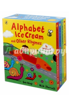 Alphabet Ice Cream &amp; Other Rhymes (4 board books)Литература на иностранном языке для детей<br>Say Hello to Nick and Sue!<br>Thees fun-filled and colourful rhyming board books are the perfect introduction to counting, the alphabet, opposites and colours.<br>Alphabet Ice Cream<br>Faster, Faster! Nice and Slow!<br>Red Rockets and Rainbow Jelly<br>One to Ten and Back Again<br>