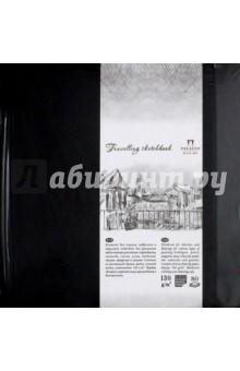 Блокнот, 80 листов, 140*140 Travelling sketchbook, черный (БЛ-9212)Блокноты (нестандартный формат)<br>Блокнот для эскизов, набросков и зарисовок подходит для различных видов техники рисования: карандашом, сангиной, соусом, углем, пастелью, тушью, акварелью и гуашью.<br>80 листов.<br>Размер 140 х 140 мм.<br>Рисовальная бумага цвета слоновой кости, плотность 130 г/кв.м.<br>Твердый переплет, закругленные углы.<br>Закрывается на резинку.<br>Ляссе.<br>Сделано в России.<br>