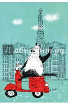 Блокнот, поднимающий настроение. В Париже. А6+Блокноты средние Линейка<br>Блокнот для записей - вещь очень личная, ведь именно ему вы доверяете свои мысли и делитесь планами. Страницы блокнота поведают вам о дружбе большого кота и маленького мышонка. Звучит невероятно? Однако им это удаётся. Плотная бумага, позитивные картинки - открывать блокнот и писать в нем - сплошное удовольствие. С первых дней использования блокнот станет помощником на пути к реализации вашей мечты. А еще к нему прилагается отличное настроение!<br>