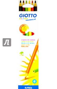 Набор карандашей GIOTTO ELIOS TRIANGUL. 6 цветов (276000)Цветные карандаши 6 цветов (4—8)<br>Набор карандашей GIOTTO ELIOS TRIANGUL. 6 цветов.<br>Трехгранный пластиковый корпус.<br>Упаковка: картонная коробка с подвесом.<br>Произведено в Индии.<br>