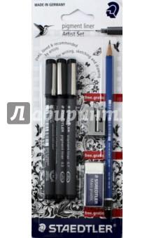 Набор капиллярных ручек Pigment liner, 3 шт, черный, + карандаш + ластик + точилка (308SBK3)Наборы капиллярных ручек<br>Набор.<br>В наборе 3 капиллярные ручки (толщина стержня 0.3, 0.5 и 0.7 мм; цвет чернил черный), карандаш 2В, ластик точилка.<br>Упаковка: блистер.<br>Сделано в Германии.<br>