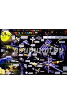 Настенная детская космическая карта. Наши достижения в космосеДемонстрационные материалы<br>Настенная детская космическая карта. Наши достижения в космосе.<br>На картоне, ламинированная.<br>Размер: 90х60 см.<br>
