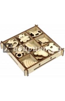 Набор украшений в коробке Детский №1 (10,5х10,5)Скрапбук<br>Набор украшений в коробке Детский №1.<br>19 видов  украшений в одной коробочке, по 4 штуки каждого вида<br>Коробка: 10,5х10,5 см<br>Размер изделия: 2,5-3 см.<br>