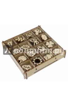 Набор украшений в коробке Природа (13,5х13,5)Скрапбук<br>Набор украшений в коробке Природа.<br>16 видов  украшений в одной коробочке, по 6 штук каждого вида<br>Коробка: 13,5х13,5 см<br>Размер изделия: 2,5-3 см.<br>