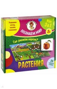 Растения. Познаем мирОбучающие игры<br>Познаём мир - это занимательная настольная игра, в процессе которой ребёнок учится систематизировать предметы, развивая при этом логическое мышление, память и внимание.<br>В набор входит игровое поле, которое разделено на 4 тематические группы. К каждой группе относится по 5 карточек с объектами.<br>Фрукты: лимон, яблоко, груша, персик, банан, ананас.<br>Овощи: помидоры, лук, капуста, огурец, морковь, свёкла.<br>Ягоды: крыжовник, смородина, малина, виноград, черника, клубника.<br>Цветы: роза, нарциссы, ирис, хризантемы, тюльпан, ромашка.<br>Для детей старше 3-х лет.<br>Сделано в России.<br>