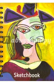 Скетчбук, 100 листов, А5 Пикассо. Голова женщины в голубой шляпе (01801)Блокноты большие нелинованные<br>Скетчбук.<br>100 листов.<br>Формат А5 (148х210 мм).<br>Тип бумаги: офсет, 100 % белая.<br>Переплет: книжный твердый.<br>Крепление: двойная евроспираль.<br>Сделано в Беларуси.<br>