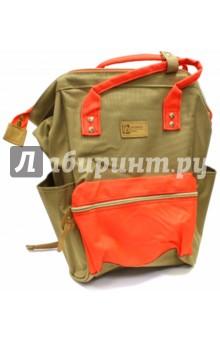 Рюкзак молодежный Хаки с оранжевым (44267)Рюкзаки школьные<br>Рюкзак молодежный имеет:<br>- 1 большое отделение на молнии.<br>- 1 накладной карман спереди на молнии. <br>- 2 накладных кармана по бокам. <br>- Ручки для переноски рюкзака в руках.<br>Длина лямок регулируется.<br>Материал: полиэстер<br>Размер: 34х23х15 см.<br>Производство: Китай.<br>