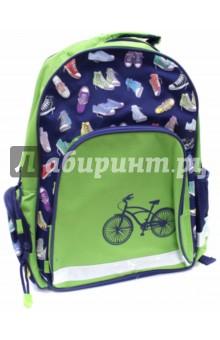 Рюкзак школьный Велосипед (43279)Рюкзаки школьные<br>Рюкзак школьный имеет:<br>- 1 большое отделение на молнии.<br>- 1 накладной карман спереди на молнии. <br>- 2 накладных кармана по бокам. <br>- Ручку для переноски рюкзака в руках.<br>Длина лямок регулируется.<br>Светоотражающие вставки.<br>Карабин для ключей.<br>Материал: полиэстер<br>Размер: 36х29х13 см.<br>Для школьников 6-14 лет.<br>Производство: Китай.<br>