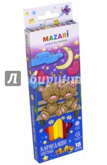 Карандаши Fluffy (18 цветов) (М-6138-18)Цветные карандаши 18 цветов (15—20)<br>Карандаши цветные.<br>Предназначены для рисования по бумаге и картону. <br>Количество цветов: 18.<br>Корпус из натуральной древесины.<br>Шестигранная форма корпус<br>Ударопрочный грифель.<br>Яркие цвета.<br>Состав: дерево, каолин, цветные пигменты.<br>Сделано в Китае.<br>